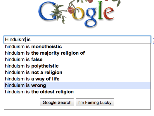 Google autocomplete for Hinduism is
