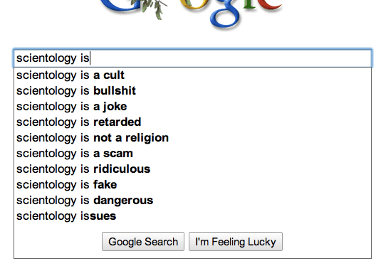Google autocomplete for Scientology is