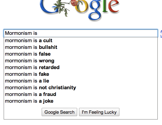 Google autocompletes for Mormonism is
