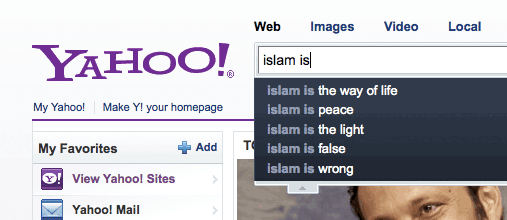 Yahoo autocompletes for Islam is