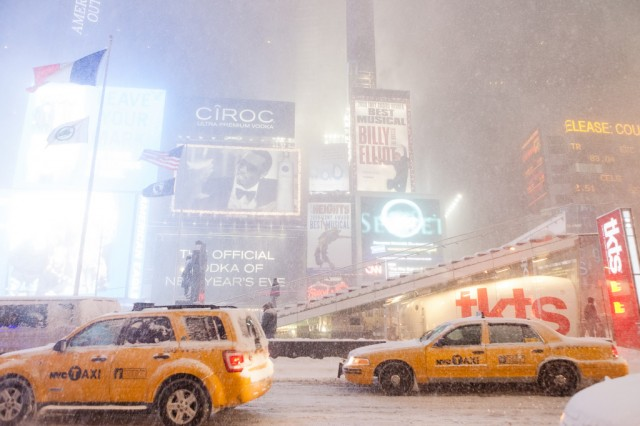 Snow storm in Times Square