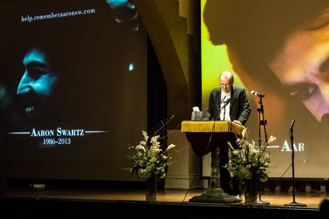 Edward Tufte speaks at Aaron Swartz's memorial on Jan. 19, 2013, in Cooper Union, NYC.