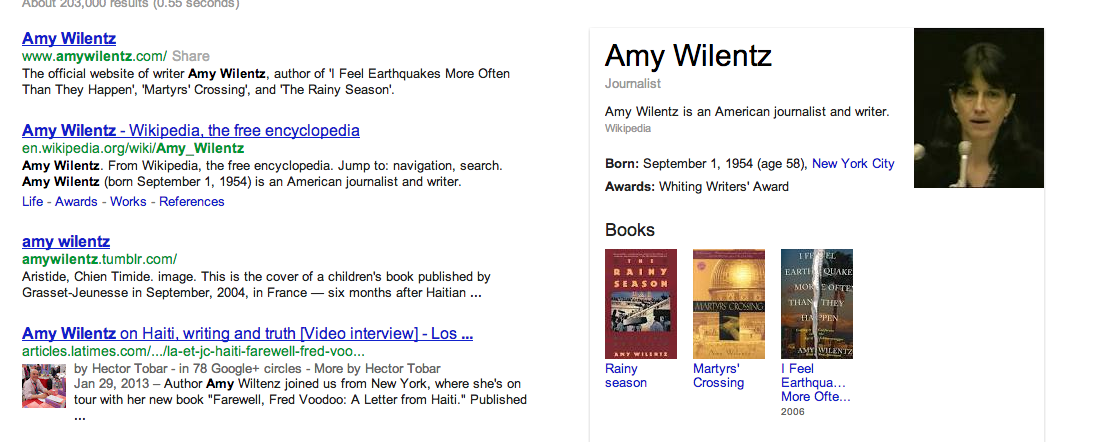 The Google search snippet for Amy Wilentz, post-death