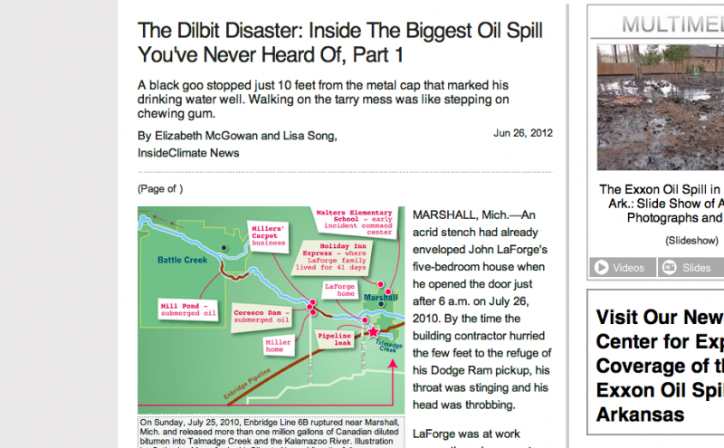 A screenshot of the first story in InsideClimate&#039;s series