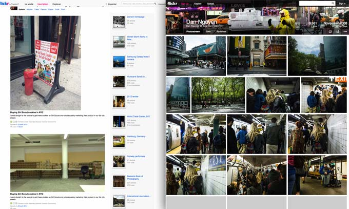 Before and after, my Flickr homepage